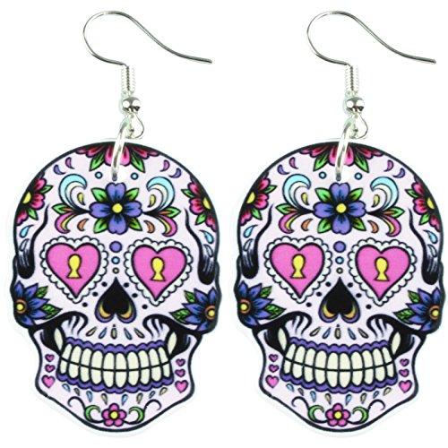 TFB-Funky tamaño grande morado Punk Flores mexicano Azúcar calavera pendientes gótico retro regalo