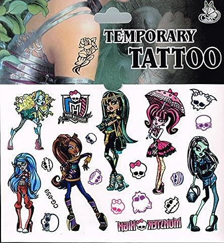 Feuille de Tatouages - Parfait pour les Pochettes Surprises - Reine des neige, Spiderman et bien d'autres - Monster High