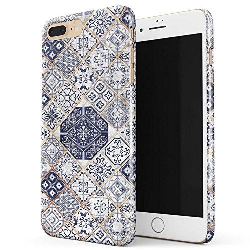 Marokkanische Henna-design (BURGA Licht Blau Weiß Mit Gold Marmor Marble Muster Moroccan Tiles Mosaik Dünn, Robuste Rückschale aus Kunststoff Für iPhone 7 Plus / iPhone 8 Plus Hülle Handyhülle Schutz Case Cover)