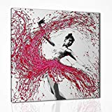 Quadro Ballerina Dipinto a Mano Moderno, Pannello Decorativo Astratto, Colore Materico, Pronto D'appendere con Telaio, Arredo Casa Salone Salotto Camera da Letto Cucina, Dripping art