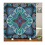 Gnzoe Polyester Bad Vorhang Blumen Muster Design Badewanne Vorhang Bunt für Badezimmer/Badewanne 180X180CM