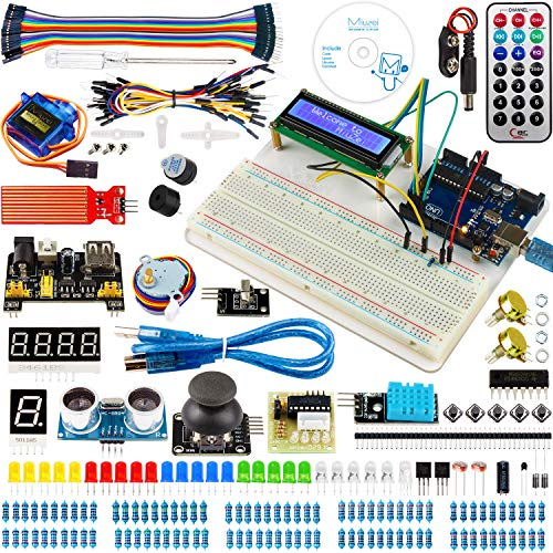 Miuzei UNO R3 Starter Kit with Arduino Including Breadboard Holder, LCD, Motor Servos, Sensors and Detailed Tutorial MA05-F -