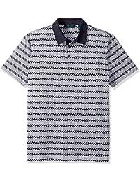 Perry Ellis Men's Pima Stripe Print 3 Button Polo Shirt