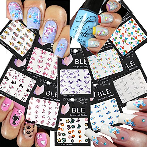 10 Stück Katze, Herz, Blumen, Schleifen, Schmetterlinge und mehr - Die Nail Art tattoo, Wasserrutsche Tattoo, Aufkleber-Abziehbilder Fun / 10 pcs of Beautiful Water Nail Tattoo Stickers -Cat, Heart, Flowers, Bows, Butterflies, & More