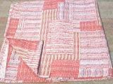 Tribal Asian Textiles Patchwork Block Print QUEEN Size Kantha Quilt , Kantha Blanket, Bed Cover, Kantha bedspread, Bohemian Bedding Kantha Size 90 Inch x 108 Inch 1068