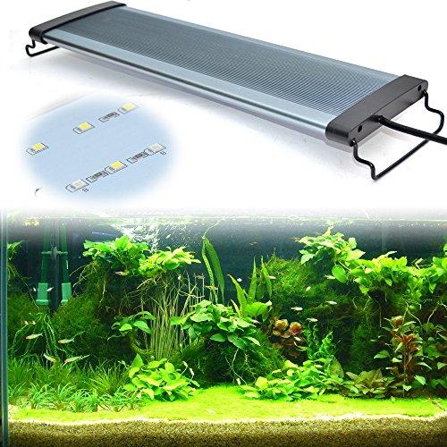 EDAY Aquarium Beleuchtung Leuchte Lampe LED Aufsetzleuchte Schwarz, Weiß+Blau (80-85CM)