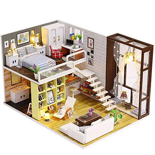 DIY Cottage Hand-Holz Miniatur - Puppenhaus Set bemalbar - für Kinder und Mädchen - Renovieren Holzbausatz - mit Möbel zum Selbermachen mit LED Lichter für Erwachsene