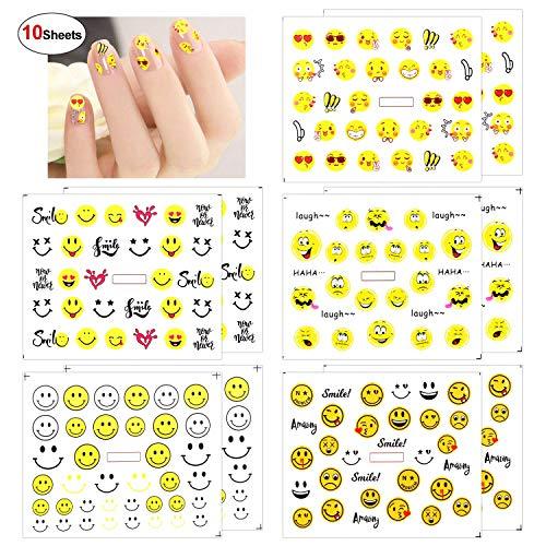 Howaf 10 Blätter Emoji nagelsticker selbstklebend Nail Wasser Transfer sticker Nagelaufkleber für Frau Mädchen Mitgebsel Kindergeburtstag geschenktüten DIY Nagel Kunst Dekoration