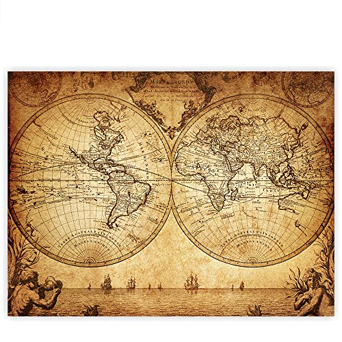 Alte Weltkarte (Leinwandbild 100x75 cm PREMIUM Leinwand Bild - Wandbild Kunstdruck Wanddeko Wand Canvas - VINTAGE WORLD MAP - Weltkarte Atlas Vintage Atlas alte Karte alter Altas - no. 076)