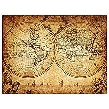 Leinwandbild 100x75 Cm PREMIUM Leinwand Bild   Wandbild Kunstdruck Wanddeko  Wand Canvas   VINTAGE WORLD MAP