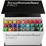 KARIN Mini Box BrushMarker Pro BrushMarker Pro - Rotulador (26 unidades, cuerpo transparente con sistema Ink-Free de 2,4 ml,