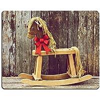 Liili Mouse Pad in gomma naturale mousepad Richly Toned stile vintage immagine di un antico Cavallo a dondolo con un fiocco di natale rosso brillante suo collo su sfondo di legno rustico, IMMAGINE ID 15273215