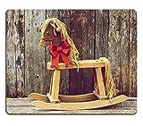 Liili Mauspad Naturkautschuk Mousepad Reich straffen Vintage Stil Bild von einer Antik Schaukelpferd mit einem funkelnden Rot Weihnachten Schleife um den Hals an einer rustikalen Holz Hintergrund Bild-ID 15273215