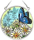 Amia 5684 Sonnenfänger aus Glas, handbemalt, Schmetterlingsmotiv, 7,6 cm Kreis