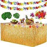 Yojoloin Falda de Mesa Luau Hawaiana Juego de decoración de la Fiesta Tropical Hawaiana de 39 Piezas,Hojas de Palmera, Flores Hawaianas, pancartas Luau para la Fiesta temática de Hawai.
