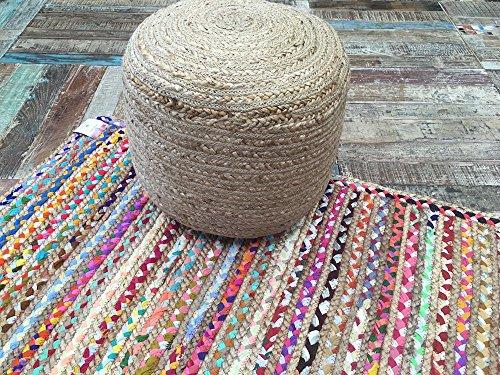 Second Nature Alfombra trenzada a mano de yute y algodón multicolor, diseño indio de rayas, varios tamaños, yute, multicolor, 90 x 150 cm