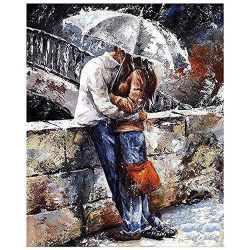 Diy Ölgemälde nach Anzahl über 40 Bilder für Auswahl Malen nach Zahlen Home Pic mit DIY montieren Holzrahmen für Erwachsene und Kinder und verfügbar für Wert Geschenk--Der Liebhaber1 MAETEK