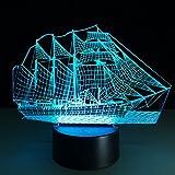 Queenshiny LED 3D Ilusión lámpara luz escritorio micro USB lámpara noche 7 cambio de color (Barco)