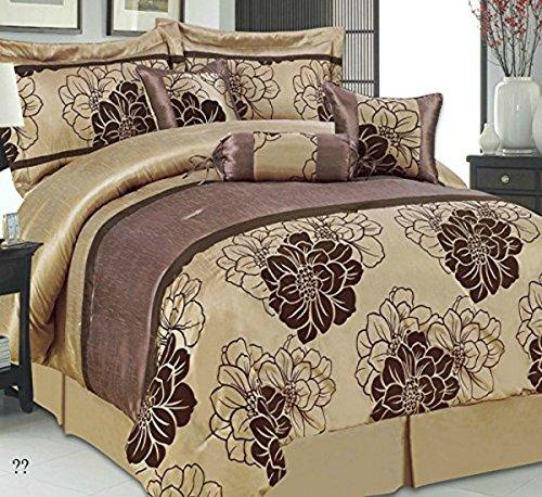 ThL Camellia 7Stück Luxus Tagesdecke gesteppt beflockte Tröster Bett Überwurf Bett-Set Home Decor, Camellia Chocolate, Einzelbett