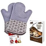 Topfhandschuhe aus Silikon & Baumwolle 2-teilig | Ofenhandschuhe für Küche und Grill | Topflappen-1Paar (Grau)