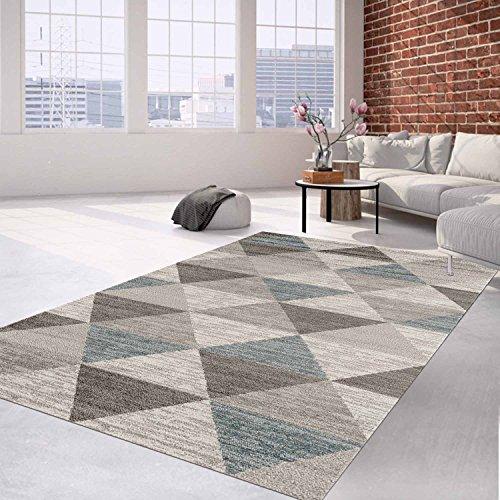 Alfombra Pelo Plano Moderno de mosaico en color crema, gris para salón, 120/170 cm