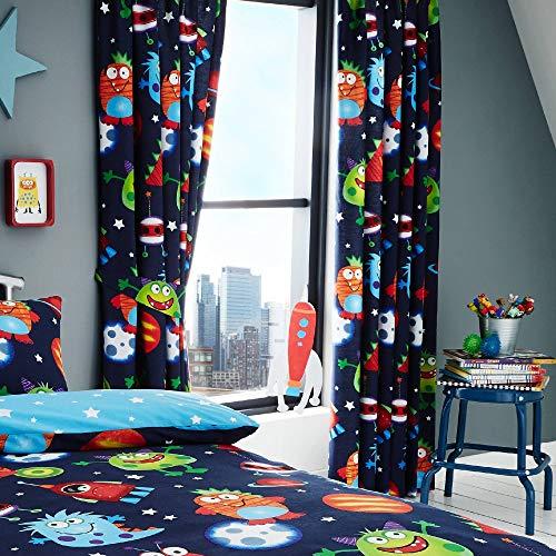 Set de cortinas infantiles - Estampado del espacio - Brilla en la...