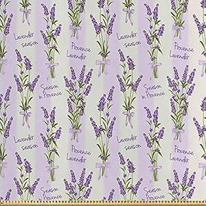 ABAKUHAUS Lavendel Stoff als Meterware, Streifen und Blumen, Seidiger Satin Stoff für Polster Heimtextilien, 1M (148x100cm), Lila