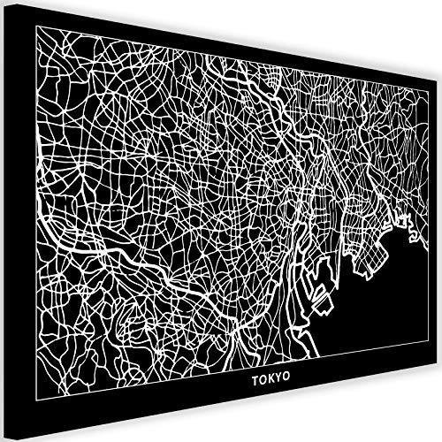 Feeby Wandbild Tokyo Kunstdruck Art Leinwandbild Karte Stadtplan Schwarz 90x60 cm