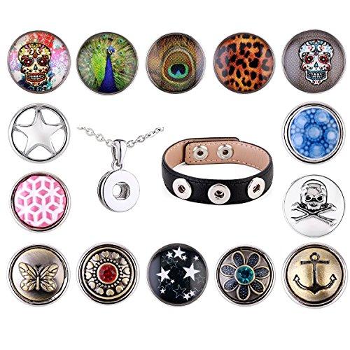 Morella Damen SMALL Click-Button Avantgarde Set Halskette 3er Armband 14 Stück Druckknöpfe (Perlen-snap Button Armbänder)