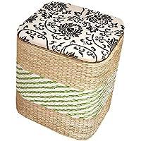 Preisvergleich für Yuan Polsterhocker Holz Farbe Rattan Compile Lagerung Hocker Fußbank Korb Schuh Bank Foyer Sofa Schminktisch Shopping Mall Schuhgeschäft/Hocker (Farbe : Green, größe : 32 * 26 * 39cm)