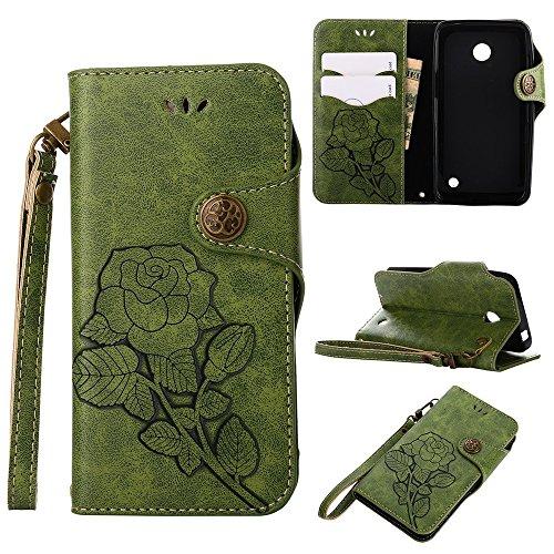 YHUISEN Nokia Lumia 630 case, Luxus Retro Rose Premium PU Leder Magnetverschluss Flip Wallet Schutzhülle mit Lanyard für Microsoft Nokia Lumia N630 ( Color : Green ) Green