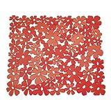 InterDesign Blumz Tappetino lavello, Tappetino proteggi lavandino di misura standard in plastica PVC, rosso