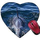 Alfombrilla de ratón con Forma de corazón con Vista de Delfines para Nadar en el Bosque del océano