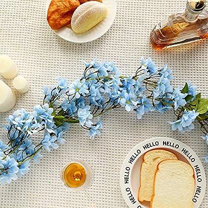 JUSTOYOU 2 Pcs 5.7FT Artificial Sakura Cherry Blossom Flores Colgando Vine Fake Sakura Garland Fake Oriental Cherry Wreath Home Garden Party Decoración de la Boda(Azul