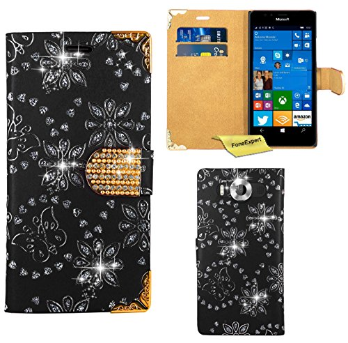 Preisvergleich Produktbild Microsoft Lumia 950 Handy Tasche, FoneExpert® Bling Luxus Diamant Hülle Wallet Case Cover Hüllen Etui Ledertasche Premium Lederhülle Schutzhülle für Microsoft Lumia 950 (Schwarz)