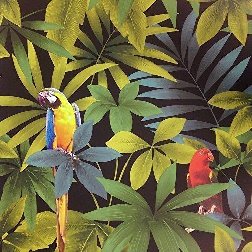 direct-rainforest-jungle-songbird-parrot-motif-leaf-pattern-wallpaper-j86404