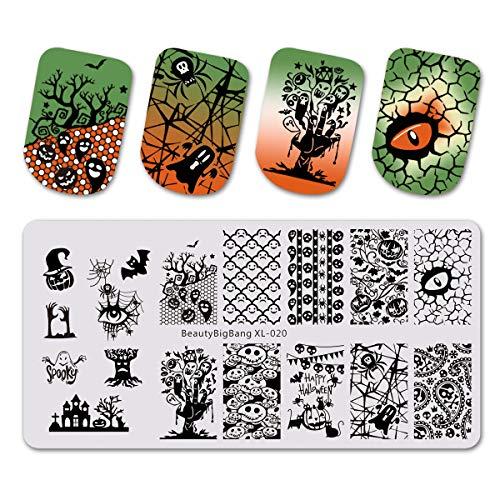 Beautybigbang Nagel Stamping Schablone Nail Art Plate Maniküre Halloween Kürbis Skelett ()