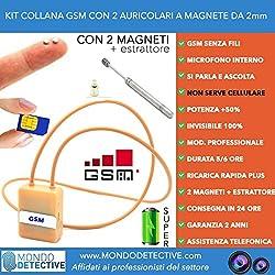 Collana micro auricolare cimice GSM box induttiva invisibile per esami quiz concorsi spy spia conversazioni occultate 2 magneti magnetica suggerimenti spy