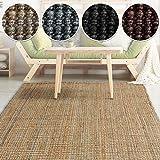casa pura Jute Teppich Webteppich aus Naturfaser   Moderner Juteteppich   Natürliche Sisal Optik für Wohnzimmer, Esszimmer und Flur   Große Auswahl   Natur - 120x180 cm