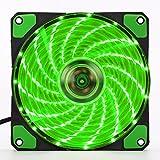 Changlesu 120mm PC Computer 16dB Ultra Silent 15LEDs 12CM Case Fan dissipatore di raffreddamento Anti-Vibration Rubber Fan12VDC 3P IDE 4pin verde Green