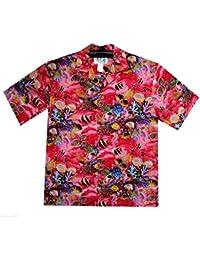 KY's| Chemise Hawaïenne D'Origine | Pour Hommes | S - 8XL | Manche Courte | Poche Avant | Hawaiian-Imprimer | Aquarium | Poisson | Rouge