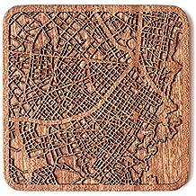 Bogotá Mappa della città Sottobicchiere, Un pezzo, Più città disponibili, combinazione gratuita, fatto a mano