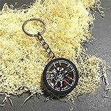 Sunsbell Schlüsselanhänger Rad Auto PKW Reifen n ̈2meros Turbo Schlüsselanhänger aus Metall mit Bremsscheiben für Camping, Angeln, Wandern, Reisen usw.