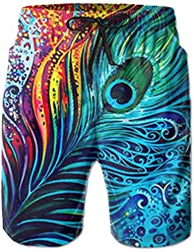 Funny Caps Colorful Amazing Peacock Men's/Boys Casual Swim Trunks Short Elastic Waist Beach Pants with Pockets