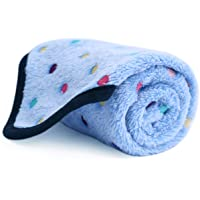 PAWZ Road Pet Dog Blanket Fluffy Fleece Fabric Soft and Cute Warm Dot Print Blanket Washable for Cats and Dogs Blue S:77 * 53cm