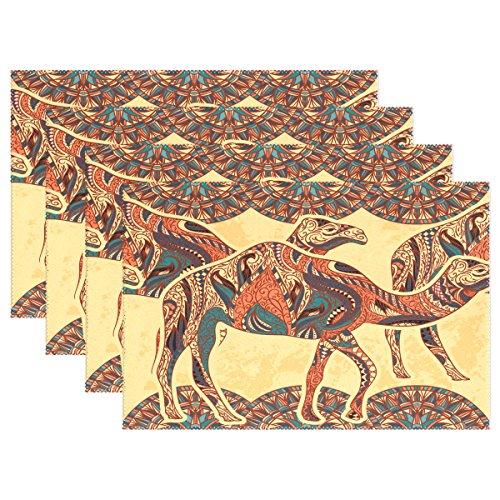 Wamika Platzsets 4er Set Kamel verziert mit orientalischen Ornamenten und Ägypten Waschbare Tischsets 30,5 x 45,7 x 10,2 cm für Esszimmer, Küche, Tischdekoration