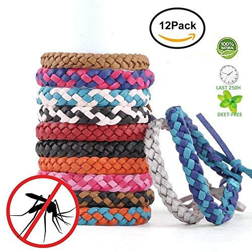Mückenschutz Armband 12, fuhaoo Leder Einsatz Repellent Handgelenk Bands Deet frei kein Spray, gegen Mücken Insekten, für Kinder, Babys, Erwachsene, von fuhaoo