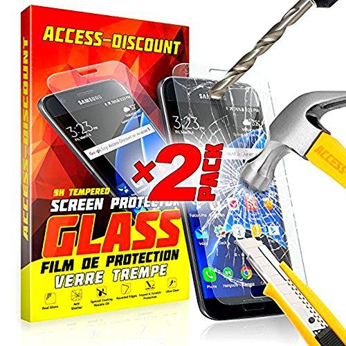 ** PACK INCASSABLE ** 2 FILM PROTECTION Ecran en VERRE Trempé SAMSUNG GALAXY J7 2016 filtre protecteur d'écran INVISIBLE & INRAYABLE vitre + STYLET BLANC pour Smartphone J 7 6 SM-J710FN 6 or duos 4G