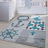 Kinder Teppiche für Kinderzimmer, Babyzimmer, Spielteppich Pirat Motiv kariert , Multi Farben Grau Blau Rot Grün Weiss_0510, Maße:80x150 cm