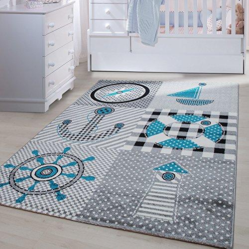 Kinder Teppiche für Kinderzimmer, Babyzimmer, Spielteppich Pirat Motiv kariert , Multi Farben Grau Blau Rot Grün Weiss_0510, Maße:120x170 cm